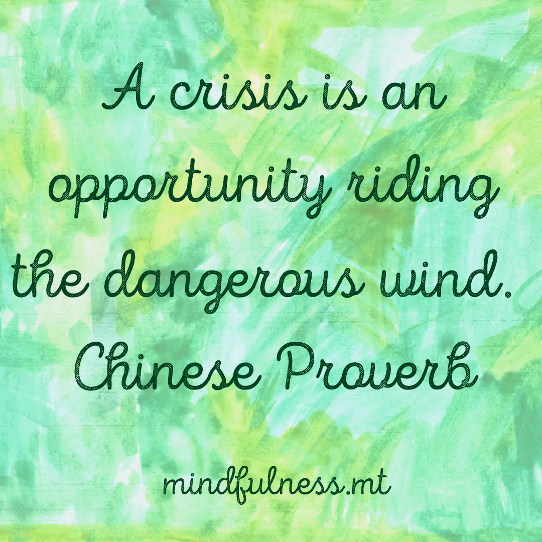 A crisis is an opportunity riding the dangerous wind. Chinese Proverb